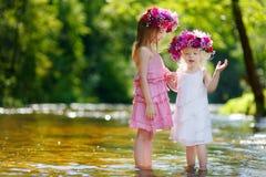Dwa małej siostry jest ubranym kwiat korony zdjęcie stock