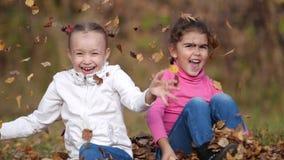 Dwa małej szczęśliwej dziewczyny z liśćmi w parku Żółty ulistnienie zbiory wideo
