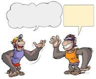Dwa małpiego postać z kreskówki. Obrazy Stock