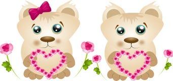Dwa mały jasnobrązowy beart z sercami ilustracji