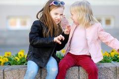 Dwa małych siostr walczyć Obraz Stock