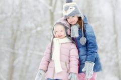 Dwa małych siostr zimy śmieszny uroczy park Zdjęcia Stock