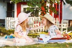 Dwa małej dziewczynki siedzi na zielonej trawie Obrazy Stock