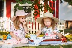 Dwa małej dziewczynki siedzi na zielonej trawie Zdjęcie Stock