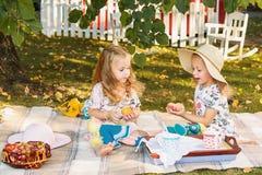 Dwa małej dziewczynki siedzi na zielonej trawie Fotografia Stock
