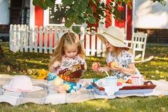 Dwa małej dziewczynki siedzi na zielonej trawie Fotografia Royalty Free