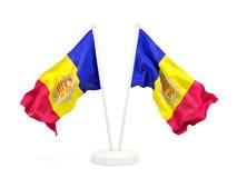 Dwa machają flaga Andorra Zdjęcie Stock