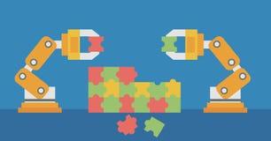 Dwa mechanicznej ręki buduje kolorową łamigłówkę ilustracja wektor