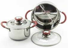 Dwa metalu kucharstwa garnka Obrazy Stock