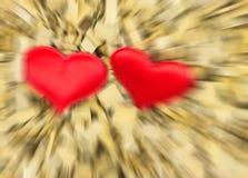 Dwa miłość symboli/lów skutka ruchu plamy skutka bazy kierowa walentynki Fotografia Royalty Free