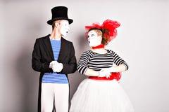 Dwa mima mężczyzna i kobieta Kwietnia durnia dnia pojęcie Fotografia Stock