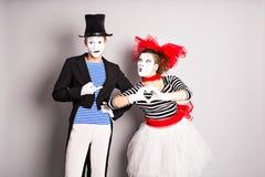 Dwa mima mężczyzna i kobieta Pojęcie walentynka dzień, Kwietnia durnia dzień Obrazy Stock
