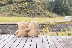 Dwa misiów pluszowych brown niedźwiedź siedzi na tarasowy drewnianym Fotografia Royalty Free
