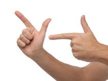 Dwa mknącej samiec ręki odizolowywającej Obrazy Royalty Free