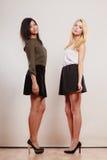 Dwa mody kobiety afrykanin i caucasian pozować Fotografia Stock