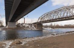 Dwa mosta nad rzecznym Sukhona w Sokol zdjęcie stock