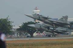 Dwa myśliwiec odrzutowy zdejmował Obrazy Royalty Free