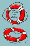 Dwa nakreślenia lifebuoys Obrazy Stock