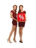 Dwa nastoletniej dziewczyny w czerwonych sukniach z procentu znakiem Obrazy Stock
