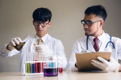 Dwa naukowów mężczyzna próbny ciekły substrance w lab Fotografia Royalty Free