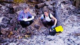 Dwa naukowa ekologa pracuje na miejscu dokąd las palił puszek zbiory