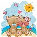 Dwa niedźwiedzia na plaży royalty ilustracja