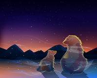 Dwa niedźwiedzia ogląda wschód słońca w zimno pustyni wektorze Fotografia Stock