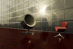 Dwa nowożytnego krzesła stawia czoło each inny w zewnętrznym pokładzie budynek biurowy ilustracji