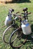 Dwa ośniedziałego bicyklu dla transportu mleko w koszu alumi Fotografia Royalty Free