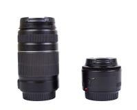 Dwa obiektywu dla kamery, odizolowywającego Zdjęcie Royalty Free