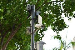 Dwa ochrony inwigilaci kamer pobliski zielony las Zdjęcie Royalty Free