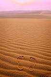 Dwa odcisku stopy w piasku w pustyni Obrazy Royalty Free