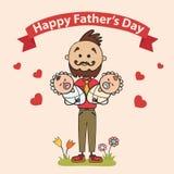 Dwa ojca z dziećmi w ich rękach Element karty dla ojca dnia również zwrócić corel ilustracji wektora Obraz Stock