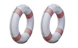 Dwa okrąg lifebuoy stary odosobniony na białych tło ?ycie ciu?acz fotografia stock
