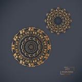 Dwa ornamentacyjnego złocistego kwiatu orientalnego mandalas na błękitnym koloru backg Obrazy Royalty Free