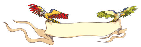 Dwa papugi z sztandarem. Fotografia Royalty Free