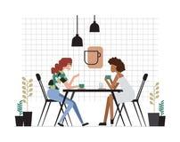 Dwa pary żeńscy przyjaciele siedzi przy stołem lub dziewczyny, pijący kawę i opowiadać Życzliwy spotkanie i rozmowa przy royalty ilustracja