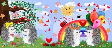 Dwa pary jeże w miłości w lasowej haliźnie blisko tęczy Wiosna, pocztówka ilustracji