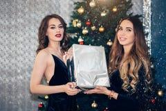 Dwa piękna dziewczyna patrzeje z uśmiechem z prezenta pudełkiem blisko choinki obraz royalty free