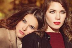 Dwa Pięknego kobiety mody modela z Makeup i fryzurą fotografia royalty free