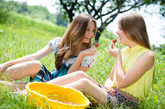 Dwa pięknego młodego szczęśliwego uśmiechniętego dziewczyna przyjaciela je truskawki obraz royalty free