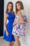 Dwa pięknego seksownego młoda kobieta przyjaciela w pięknej modzie ubierają w studiu pozuje dla kamery Obrazy Royalty Free