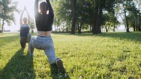 Dwa pięknej dziewczyny robi rankowi ćwiczą w parku zdjęcie wideo