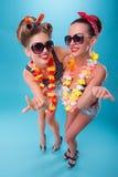 Dwa pięknej emocjonalnej dziewczyny w pinup stylu Zdjęcia Royalty Free