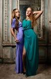 Dwa pięknej kobiety pozuje w przestarzałym wnętrzu. obrazy royalty free