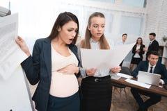 Dwa pięknej młodej dziewczyny zaskakują rezultatem robić praca Ciężarna dziewczyna z kolegą w biurze obraz stock