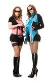 Dwa pięknej młodej kobiety. Odosobniony zdjęcia stock