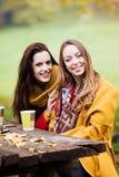 Dwa pięknej młodej kobiety opowiada i cieszy się na słonecznym dniu zdjęcie royalty free