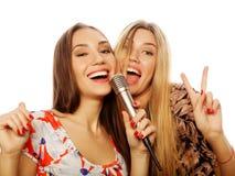 Dwa piękno dziewczyny z mikrofonu śpiewem mieć zabawą i Obraz Stock