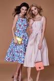 Dwa piękno kobiety modela odzieży projekta eleganckiego trendu ubraniowa bawełna fotografia royalty free